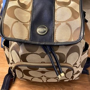 Coach khaki navy backpack and matching wallet